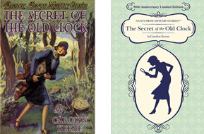 """The Secret of the Old Clock"" 1930 edition cover illustrated by Russell Tandy (left). New 80th anniversary limited edition cover (right)."