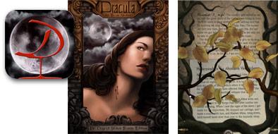 "Screenshots from ""Dracula: The Official Stoker Family Edition"" eBook app for the iPad."