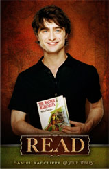 Daniel Radcliffe poses for ALA's series of Harry Potter Celebrity READ posters.